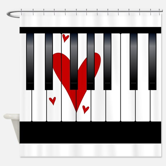 Love Piano Shower Curtain