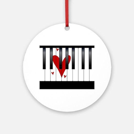 Love Piano Round Ornament