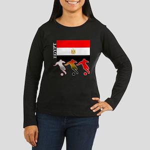 Egypt Soccer Women's Long Sleeve Dark T-Shirt