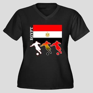 Egypt Soccer Women's Plus Size V-Neck Dark T-Shirt