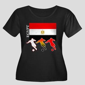 Egypt Soccer Women's Plus Size Scoop Neck Dark T-S