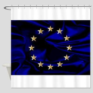 EU Silk Flag Shower Curtain