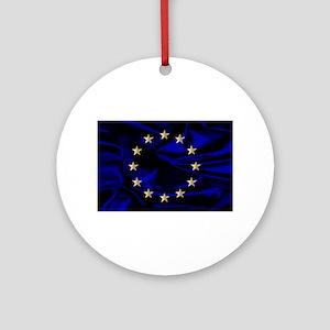 EU Silk Flag Round Ornament