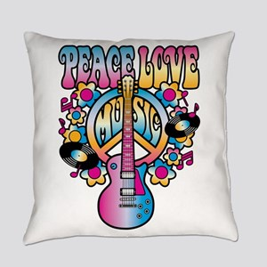 Peace-Love-Music Everyday Pillow