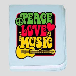 Rasta Peace Love Music baby blanket