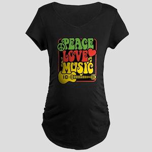 Rasta Peace Love Music Maternity T-Shirt
