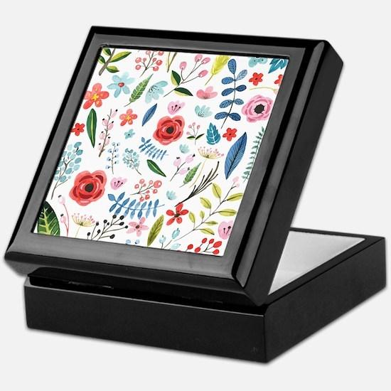 Colorful Preppy Flowers Pattern Keepsake Box