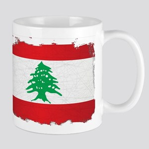 Lebanon Grunge Flag Mugs