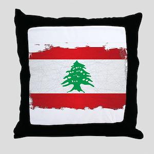 Lebanon Grunge Flag Throw Pillow