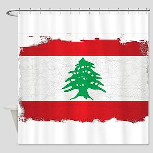 Lebanon Grunge Flag Shower Curtain