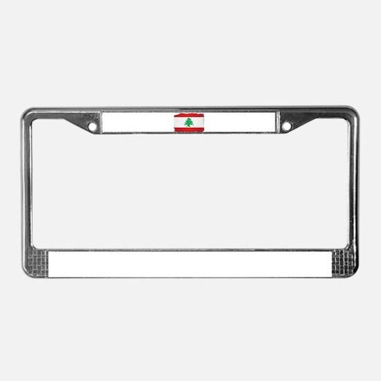 Lebanon Grunge Flag License Plate Frame
