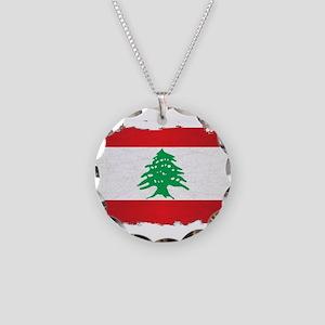 Lebanon Grunge Flag Necklace Circle Charm