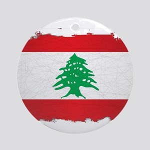 Lebanon Grunge Flag Round Ornament