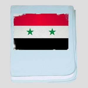 Flag of Syria Grunge baby blanket