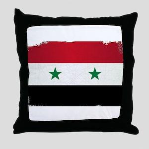 Flag of Syria Grunge Throw Pillow