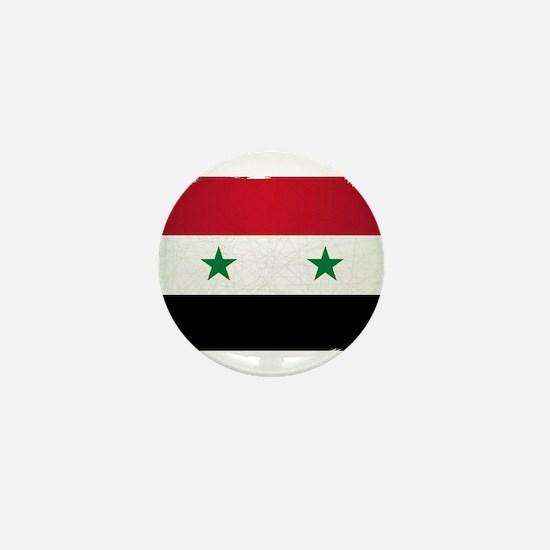 Flag of Syria Grunge Mini Button