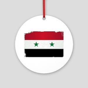 Flag of Syria Grunge Round Ornament