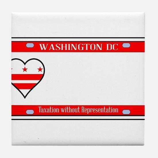 Washington DC License Plate Tile Coaster