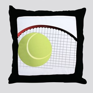Tennis Ball and Racket Throw Pillow