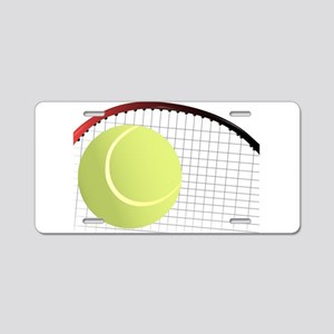 Tennis Ball and Racket Aluminum License Plate