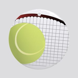 Tennis Ball and Racket Round Ornament