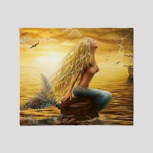 Golden Mermaid Throw Blanket