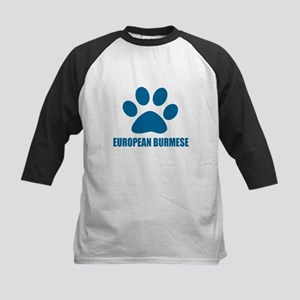 European Burmese Cat Designs Kids Baseball Tee