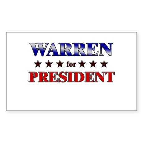 WARREN for president Rectangle Sticker