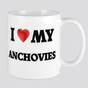 I Love My Anchovies food design Mugs