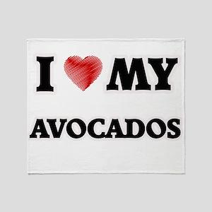 I Love My Avocados food design Throw Blanket