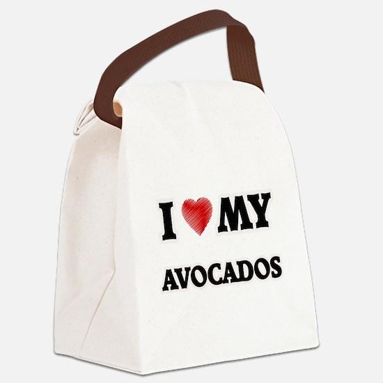 I Love My Avocados food design Canvas Lunch Bag