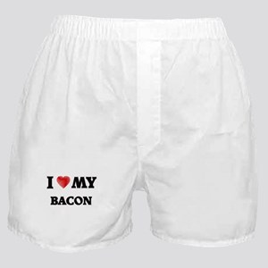 I Love My Bacon food design Boxer Shorts