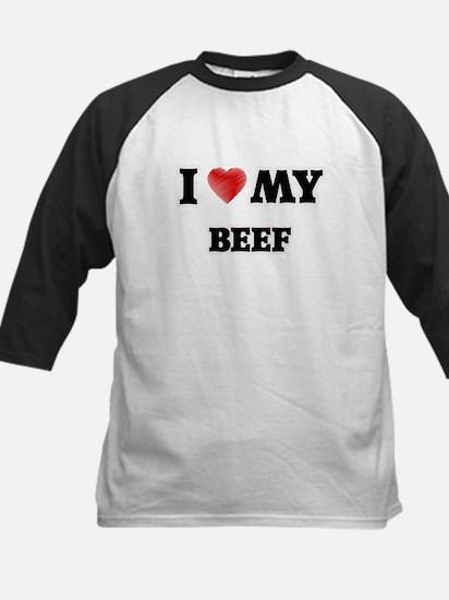 I Love My Beef food design Baseball Jersey