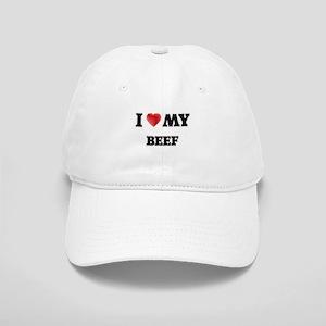 I Love My Beef food design Cap