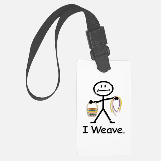 Basket Weaving Stick Figure Luggage Tag