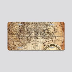 Vintage Map Aluminum License Plate
