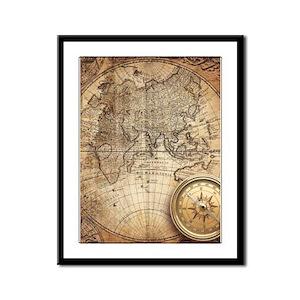 Vintage Map Framed Panel Print
