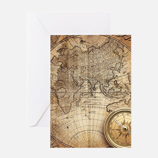 Vintage Map Greeting Cards