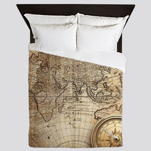Vintage Map Queen Duvet