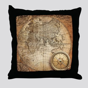 Vintage Map Throw Pillow