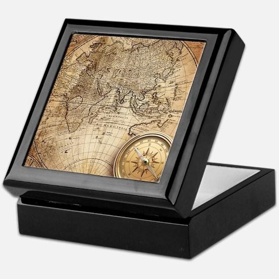 Vintage Map Keepsake Box
