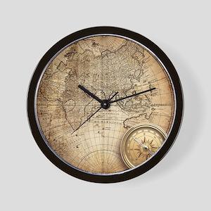 Vintage Map Wall Clock
