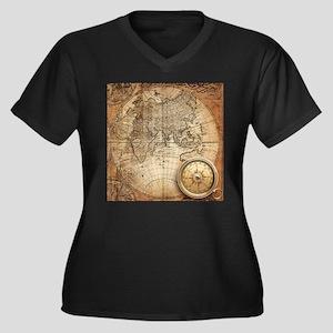 Vintage Map Plus Size T-Shirt