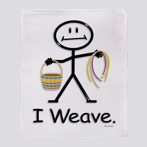 Basket Weaving Stick Figure Throw Blanket