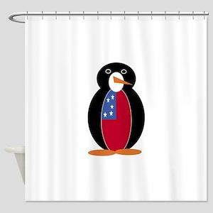 Penguin Flag Samoa Shower Curtain