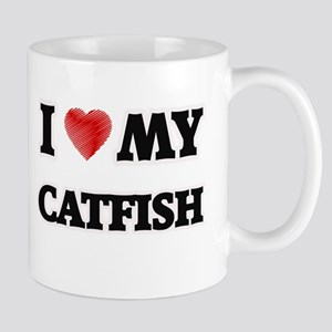 I Love My Catfish food design Mugs