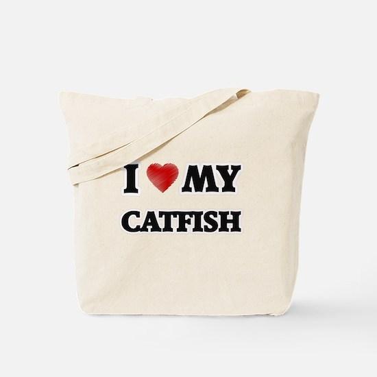 I Love My Catfish food design Tote Bag