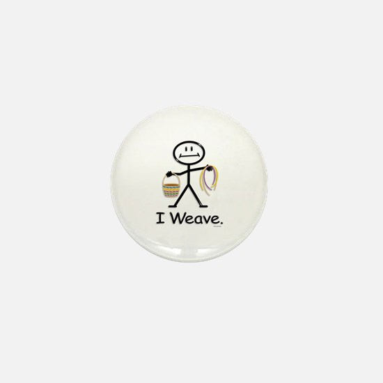 Basket Weaving Stick Figure Mini Button