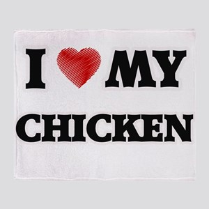 I Love My Chicken food design Throw Blanket