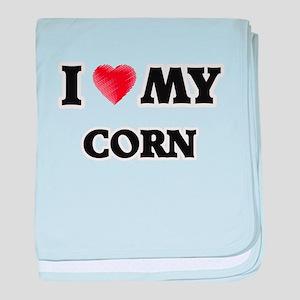 I Love My Corn food design baby blanket
